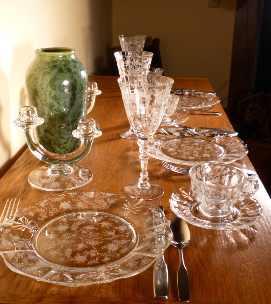 Fostoria Glass Chintz Etched Table