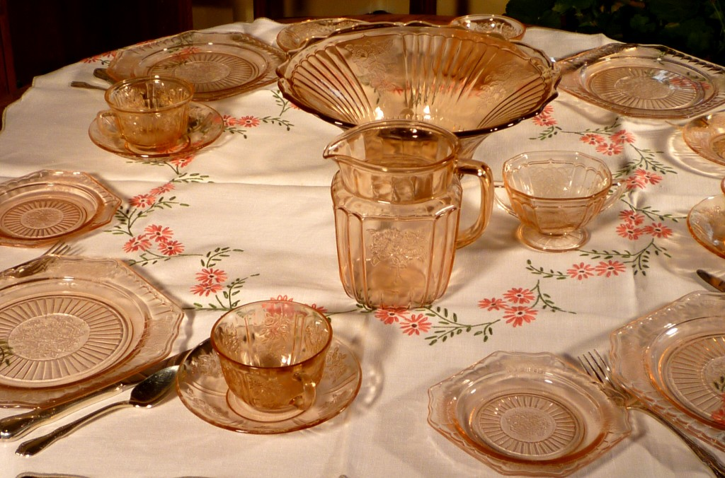 Mayfair Open Rose Pink Depression Glass