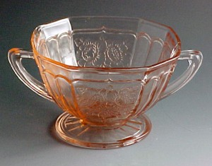 Mayfair Open Rose Pink Depression Glass Sugar Bowl