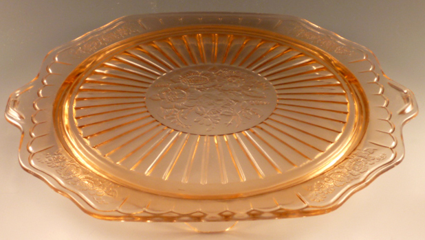 Mayfair Open Rose Pink Depression Glass Cake Plate