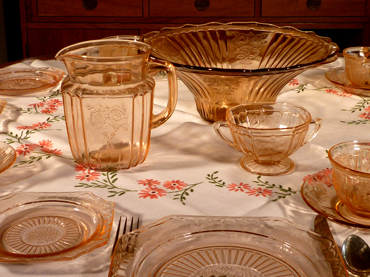 Mayfair Open Rose and Sharon Cabbage Rose Pink Depression Glass