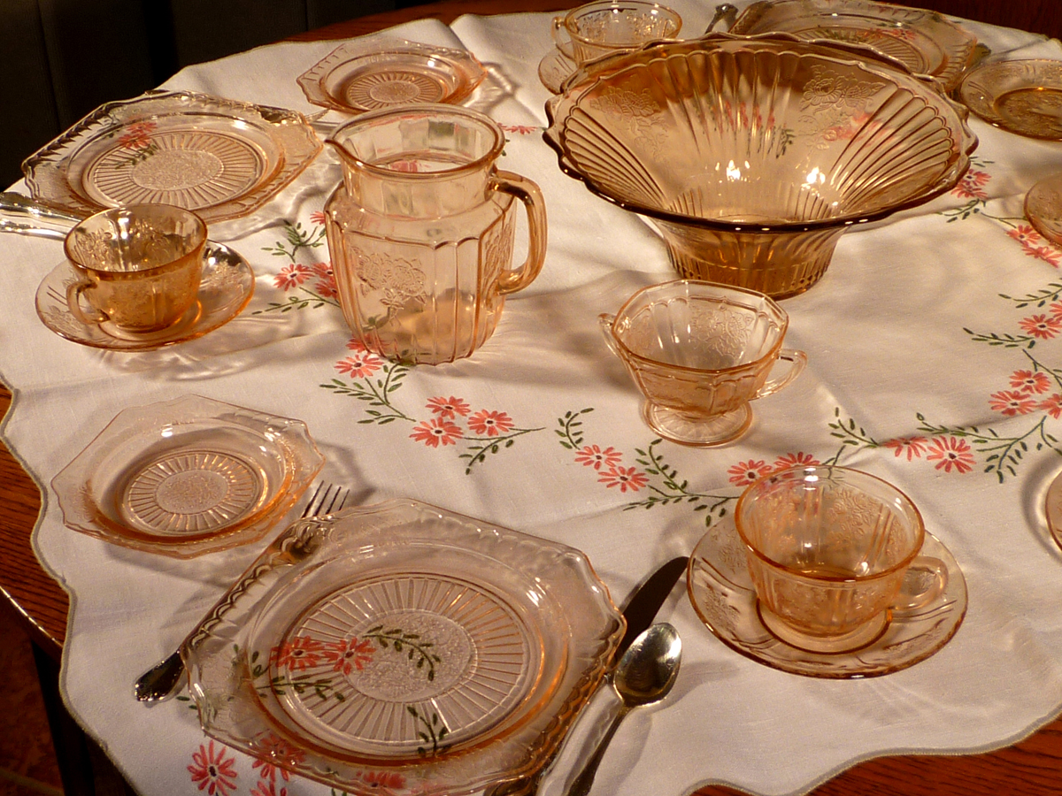 Mayfair and Sharon Pink Depression Glass