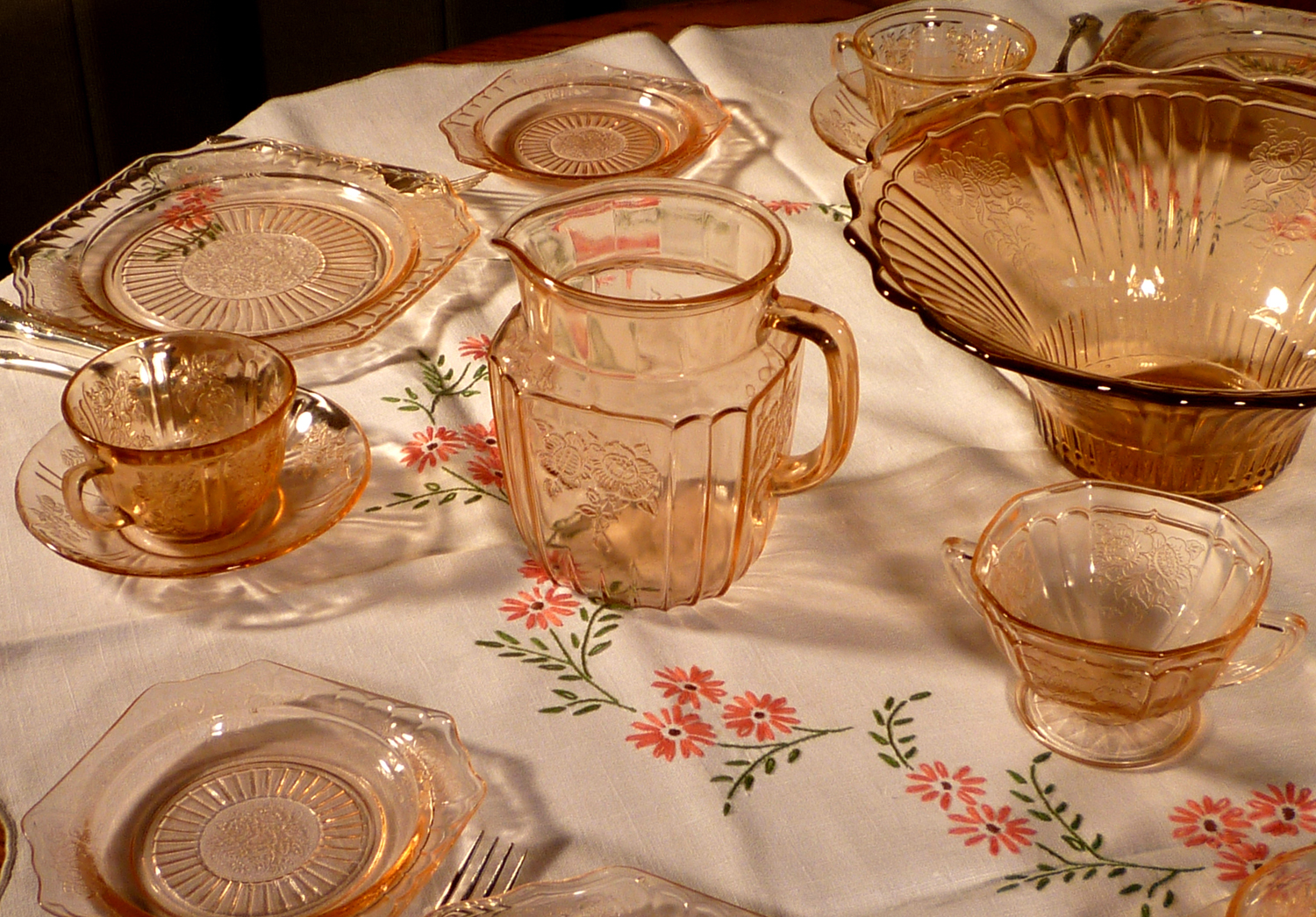 Mayfair Pink Depression Glass Dinner Table