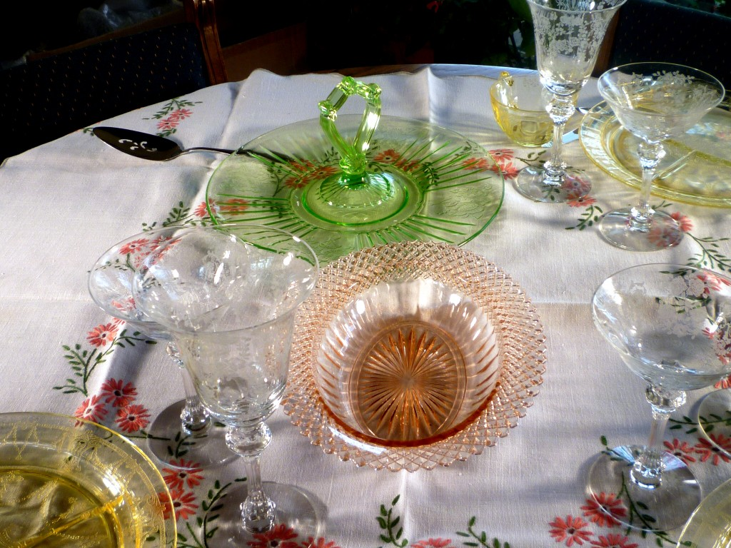 Miss America Pink Depression Glass Bowl & Mayfair Green Server