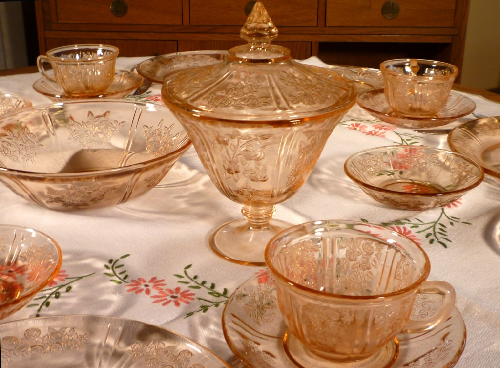 Sharon Cabbage Rose Pink Depression Glass Tablescape