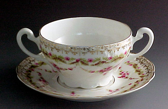 Vintage German Fine China Pink Garland Cream Soup Set