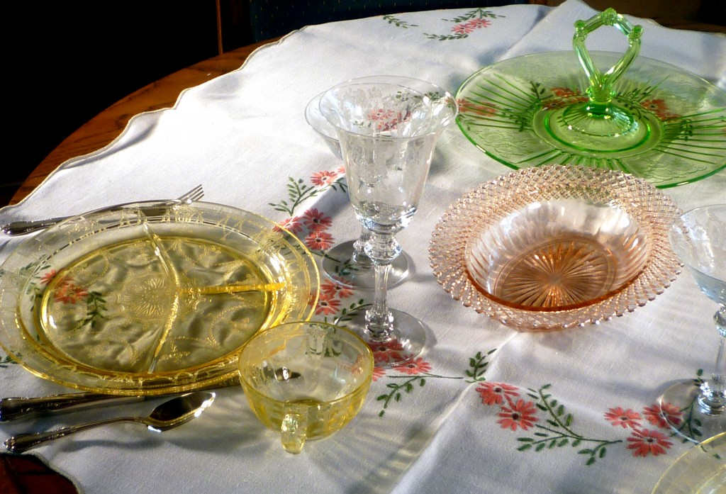 Cameo Yellow, Mayfair Green and Miss America Pink Depression Glass