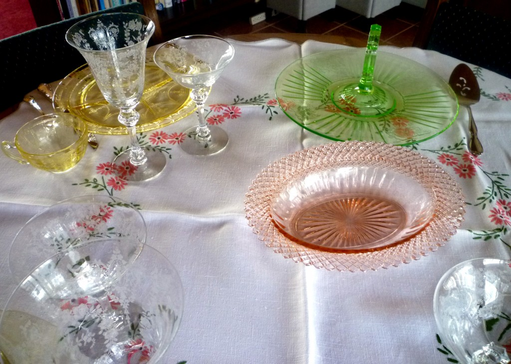 Cameo Yellow, Miss America Pink, Mayfair Green Depression Glass Table