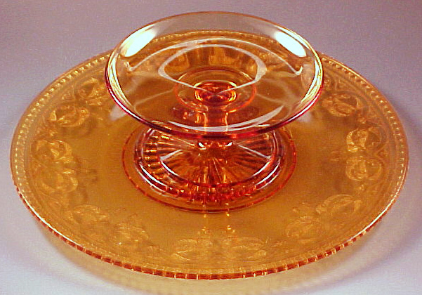 Cambridge Glass Windows Etch Amber Cheese and Cracker Set