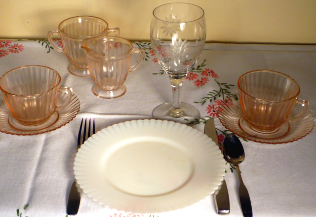 Petalware Pink and Monax Depression Glass