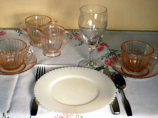 Petalware White and Pink Depression Glass