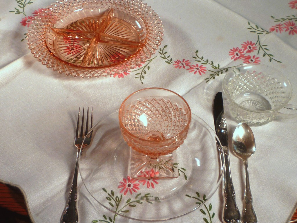 Miss America Pink and Clear Crystal Plates