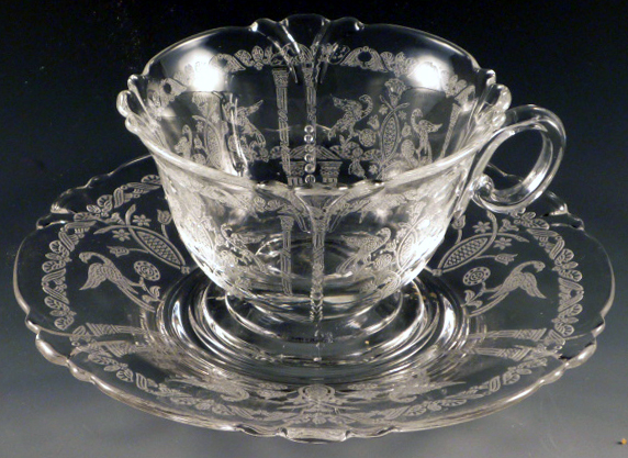 Heisey Pompeii Etched Crystal Empress Cup & Saucer
