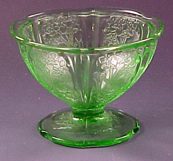 Cherry Blossom Green Depression Glass Sherbet