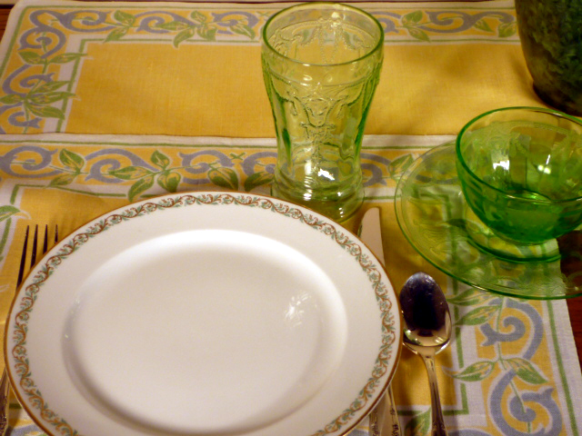 GDA Limoges Plates with Cameo Green Depression Glass