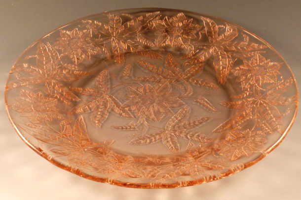 Floral Poinsettia Pink Depression Glass Dinner Plate