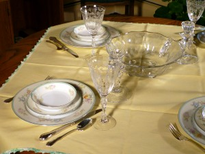 Fostoria Chintz and Vintage Meito Japanese China Tablescape Thursday