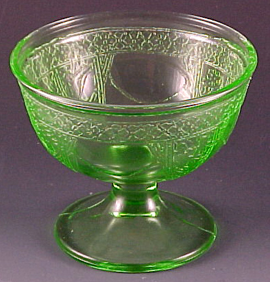 Georgian Lovebirds Green Depression Glass Sherbet