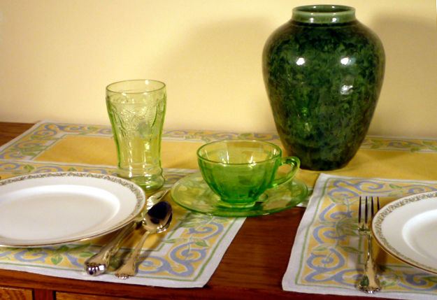 GDA Limoges Dinner Plate and Cameo Green Depression Glass