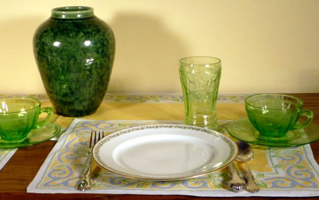 Limoges China with Cameo Green Depression Glass