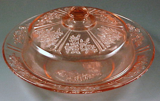 Sharon Cabbage Rose Pink Depression Glass Butter Dish