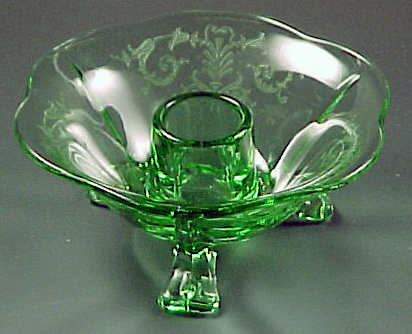 Fostoria Glass Versailles Green Candle Holder