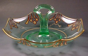 Fancy Fun Friday – Art Deco Green Center Handled Serving Dish