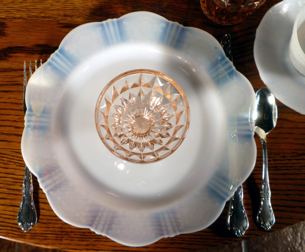 American Sweetheart Monax White and Windsor Pink Depression Glass