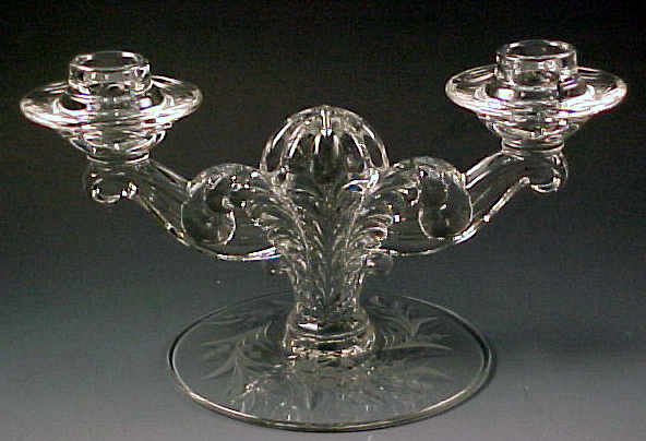 Fostoria Cynthia Cut Crystal Coronet 2-Light Candle Holder