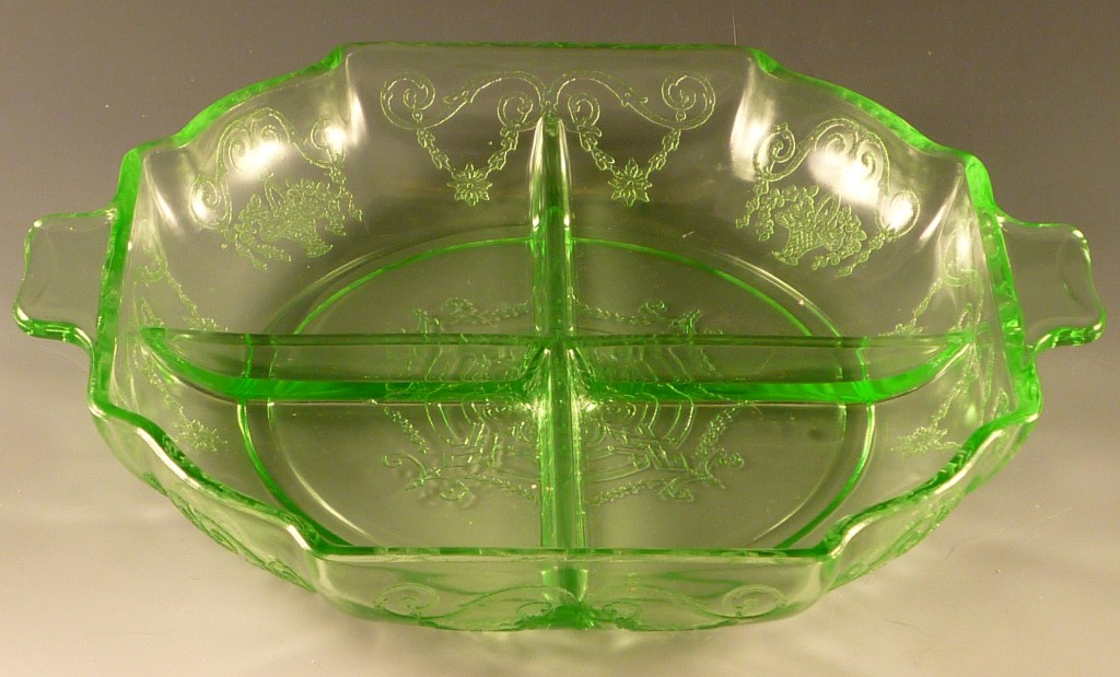 Lorain Green Depression Glass Relish Tray