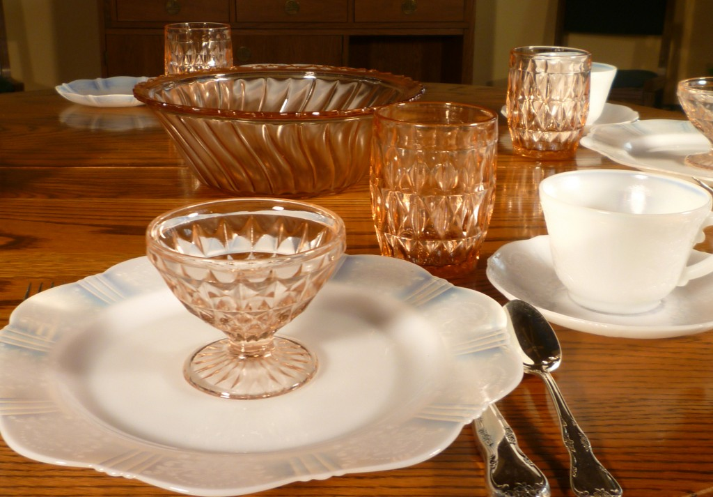 American Sweetheart Monax and Windsor Pink Depression Glass