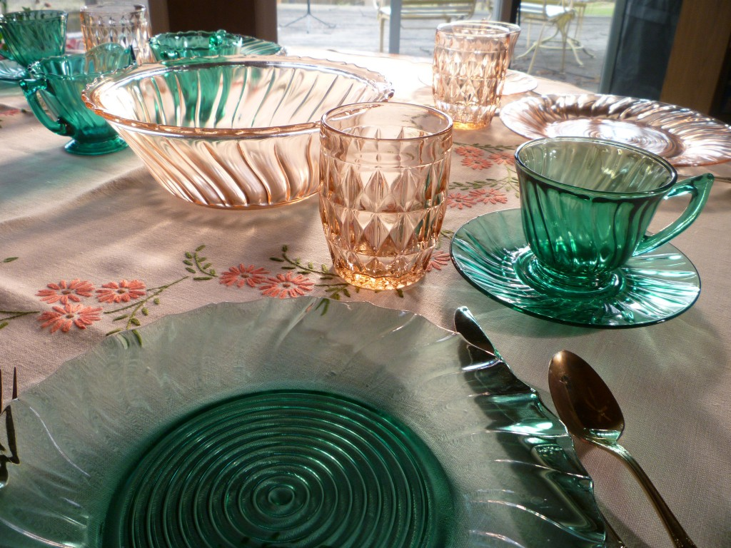 Teal and Pink Swirl and Windsor Pink Depression Glass