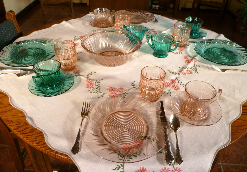 Swirl Teal and Pink Depression Glass with Windsor