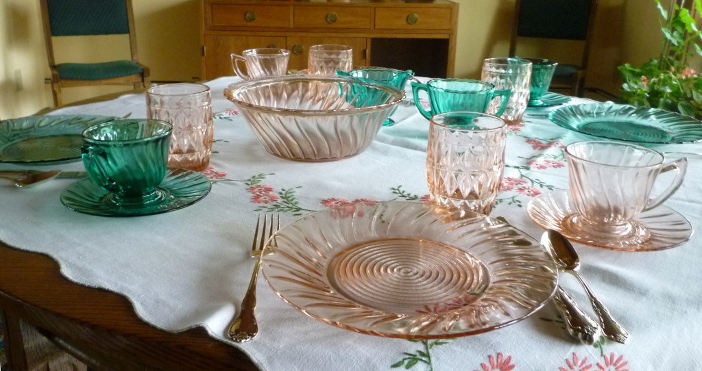 Windsor Pink Depression Glass with Swirl Teal