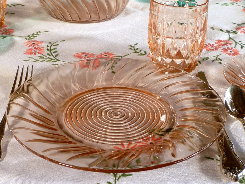 Swirl and Windsor Pink Depression Glass