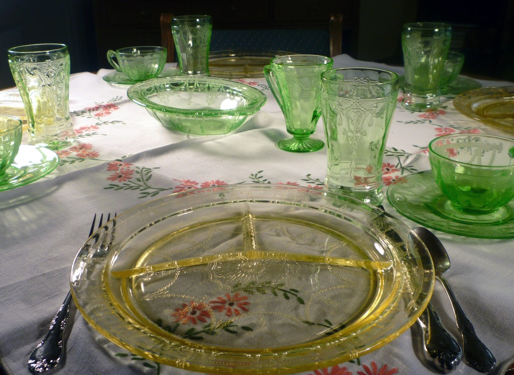 Cameo Green and Yellow Depression Glass