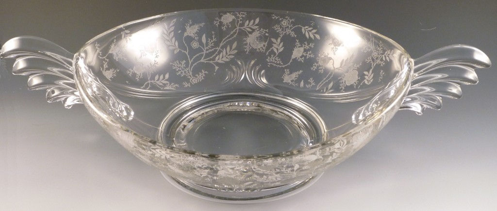 Fostoria Glass Chintz Etched Crystal Oval Handled Console Bowl
