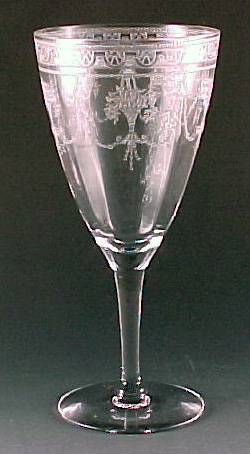 Cambridge Glass Etched Crystal Line 701 Water Goblet