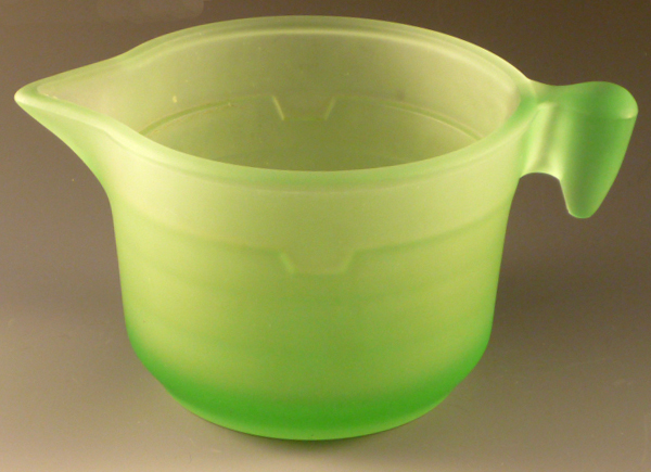 Green Depression Glass Frosted Satin Measuring Pitcher
