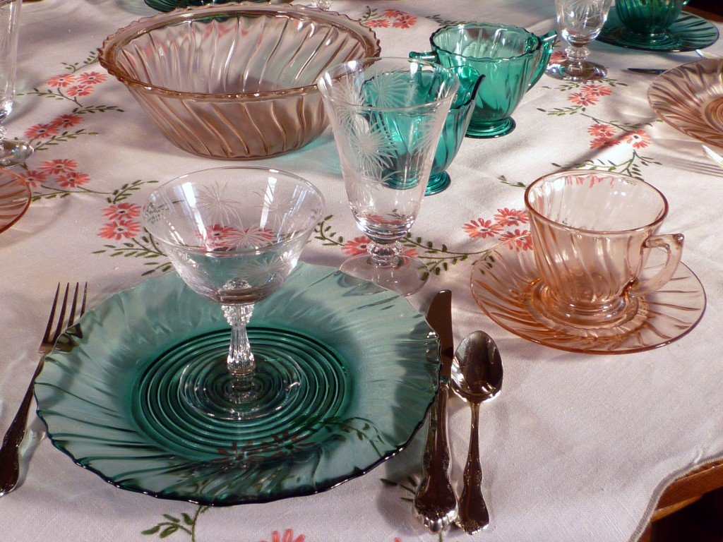 Swirl Ultramarine and Pink Depression Glass Fostoria Lido Etched Stemware