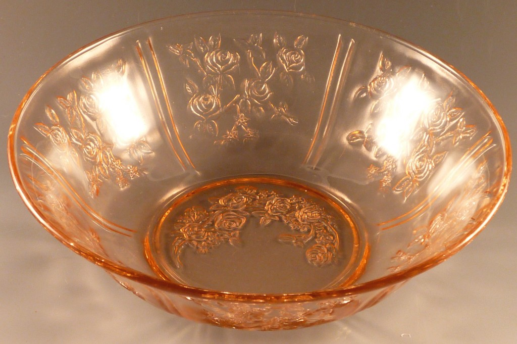 Sharon Cabbage Rose Pink Depression Glass Large Serving Bowl