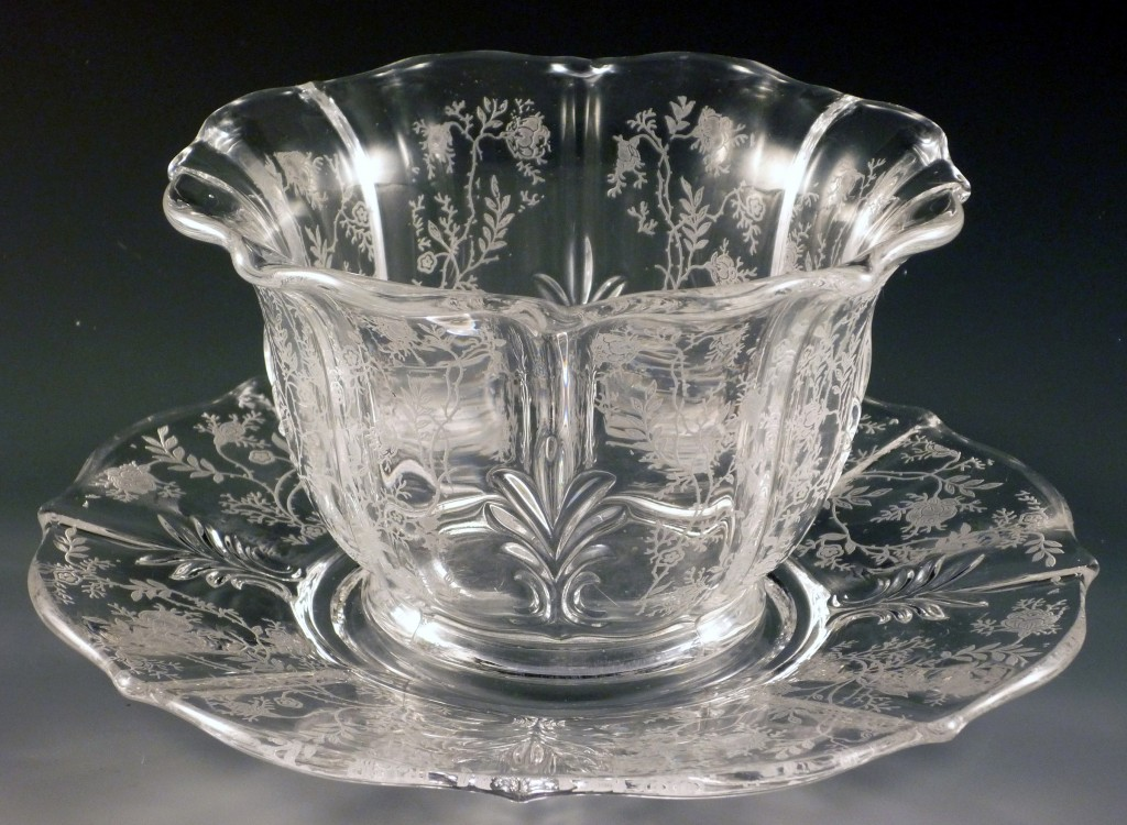 Fostoria Glass Chintz Etched Crystal Mayo Set