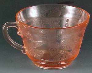 Dogwood Pink Depression Glass Cup for Pink Saturday