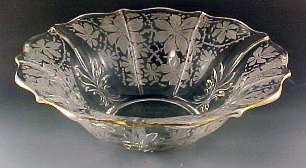 Fostoria Glass Italian Lace Etched Crystal Salad Bowl