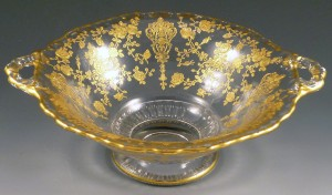 Rose Point Crystal Gold Encrusted Martha Handled Bowl