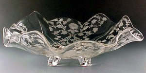 Cambridge Glass Roselyn Etched Crystal Ruffled Footed Bowl
