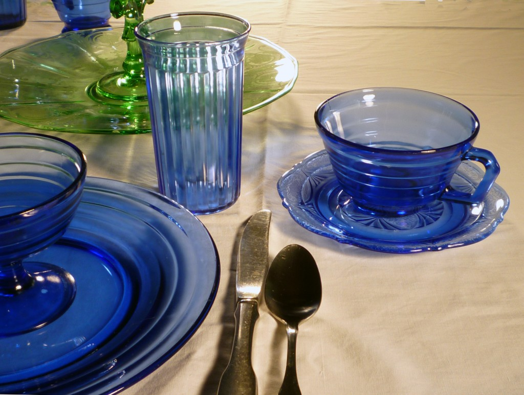 Moderntone, Royal Lace and Aurora Blue Depression Glass