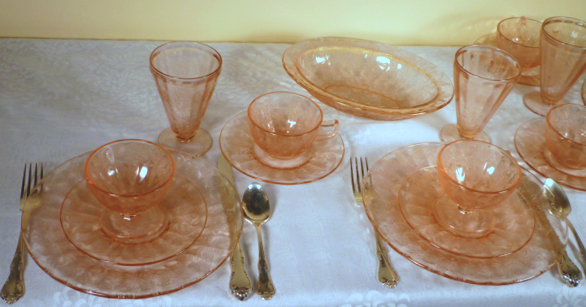 Floral Poinsettia Pink Depression Glass Table