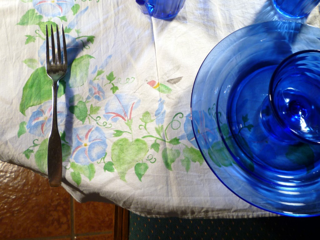 Moderntone Blue Depression Glass and Vintage Tablecloth