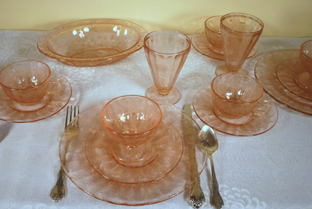 Floral Poinsettia Pink Depression Glass Table for Two